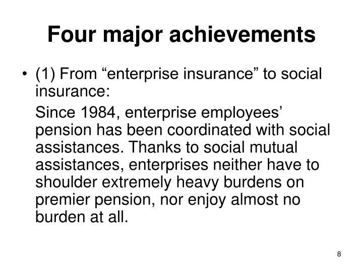 Four major achievements