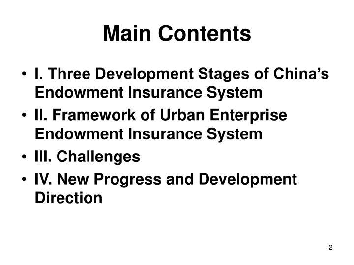 Main contents