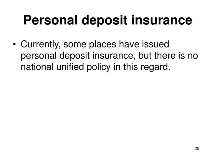 Personal deposit insurance
