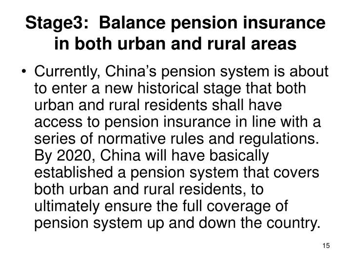 Stage3:  Balance pension insurance in both urban and rural areas