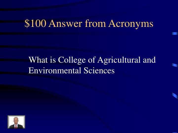 $100 Answer from Acronyms