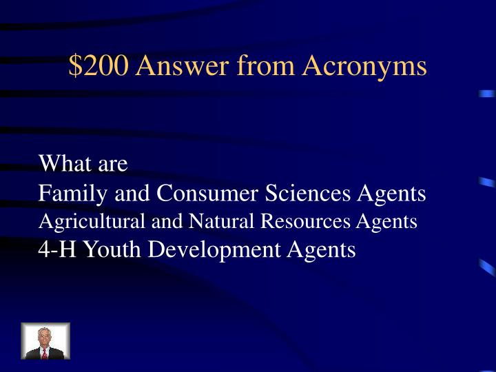 $200 Answer from Acronyms
