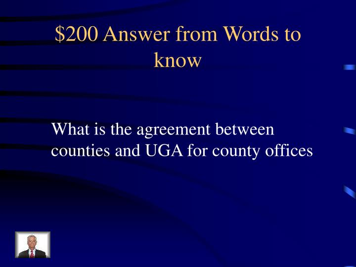 $200 Answer from Words to know