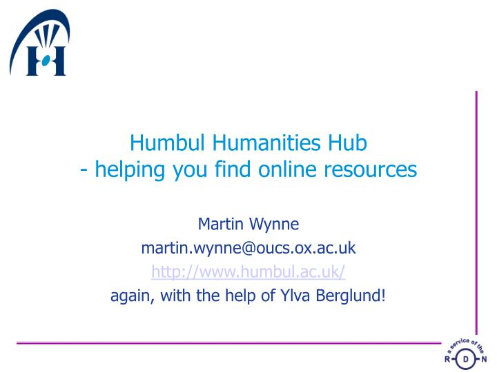 Humbul humanities hub helping you find online resources
