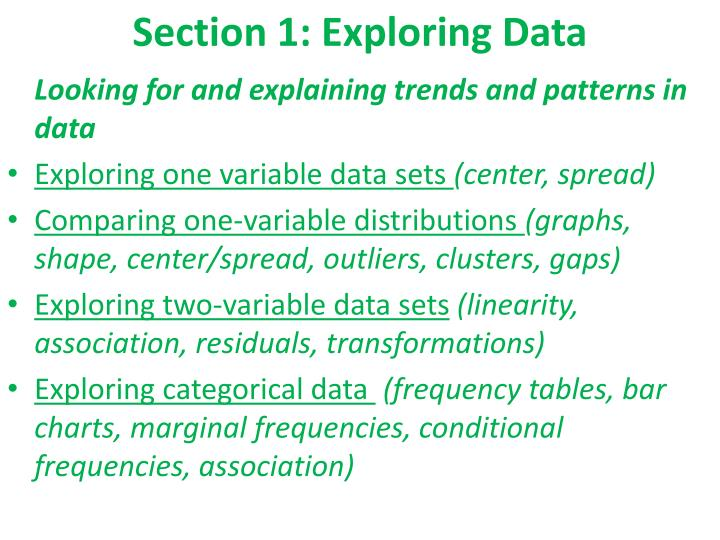 Section 1: Exploring Data