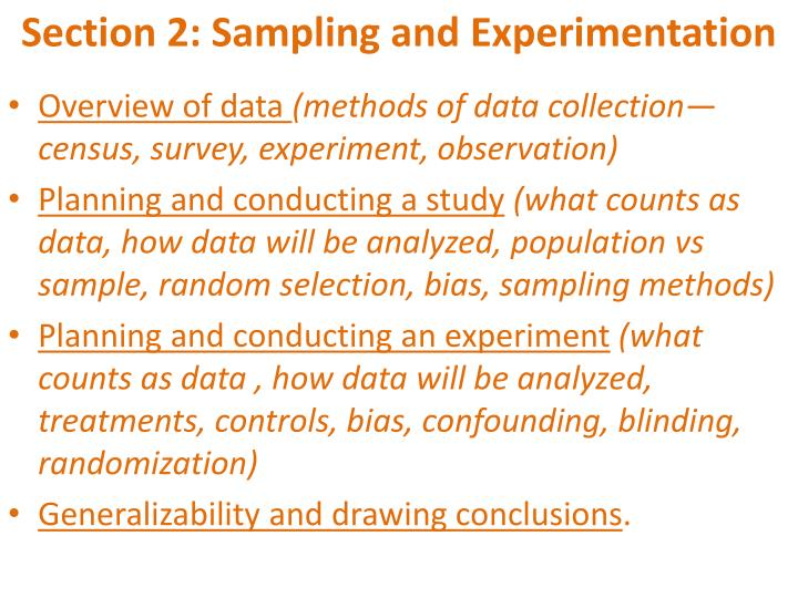 Section 2: Sampling and Experimentation