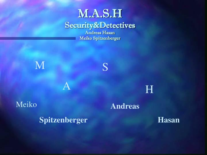 m a s h security detectives andreas hasan meiko spitzenberger n.