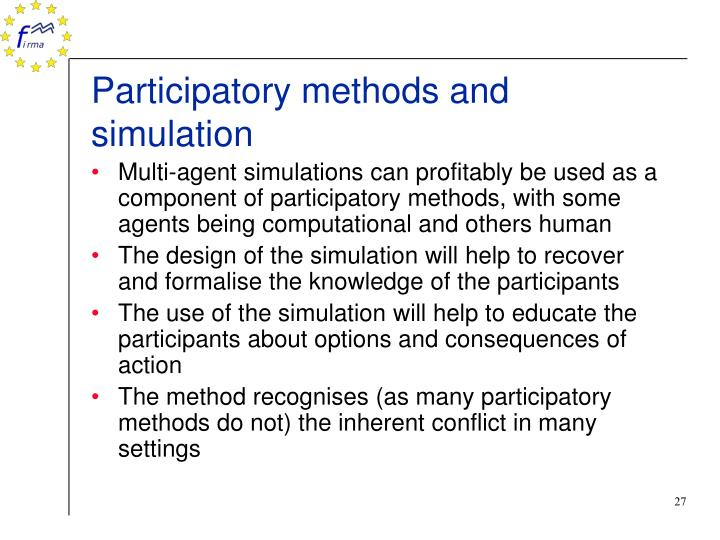 Participatory methods and simulation