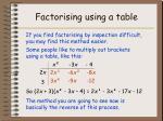 factorising using a table