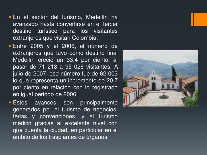 En el sector del turismo, Medellín ha avanzado hasta convertirse en el tercer destino turístico para los visitantes extranjeros que visitan Colombia.