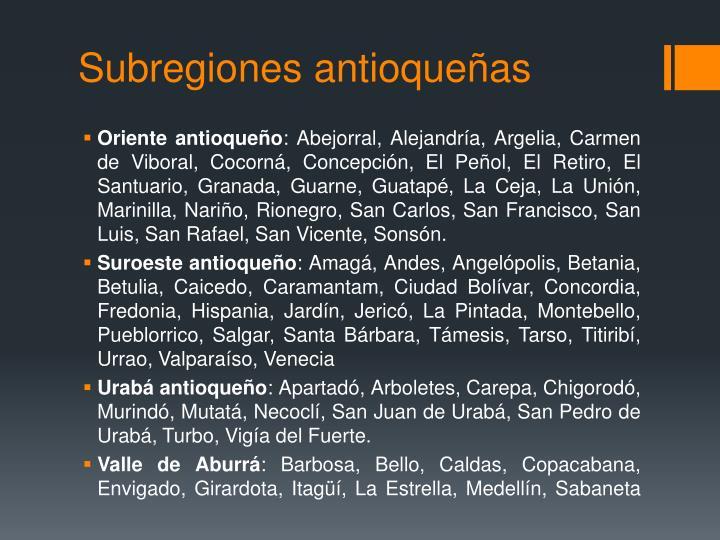 Subregiones antioqueñas