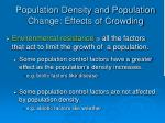 population density and population change effects of crowding