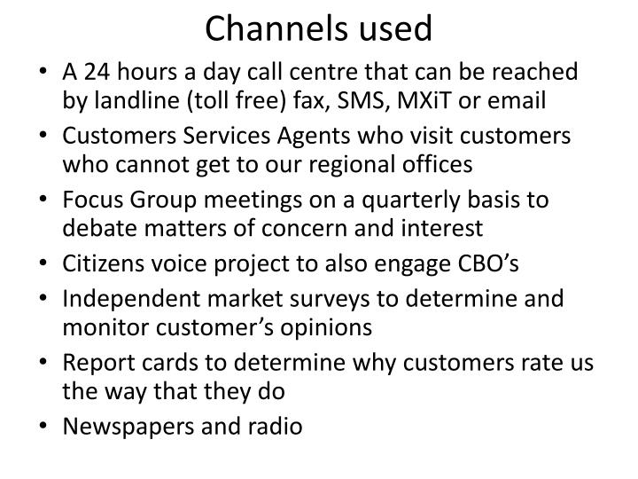 Channels used