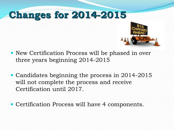 Changes for 2014-2015