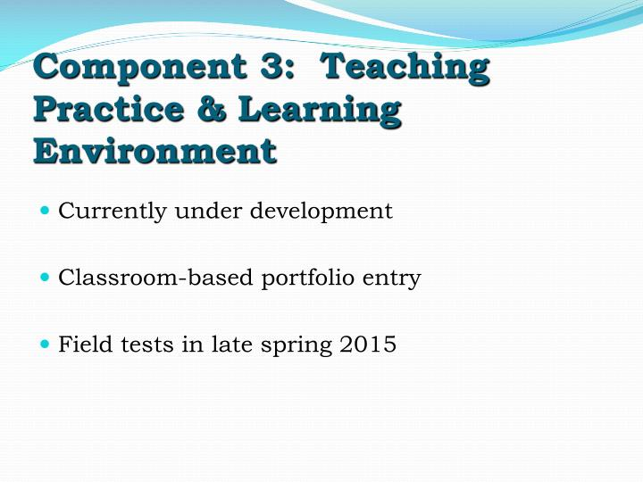 Component 3:  Teaching Practice & Learning Environment