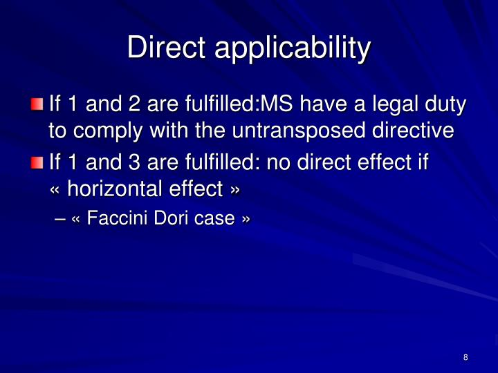Direct applicability