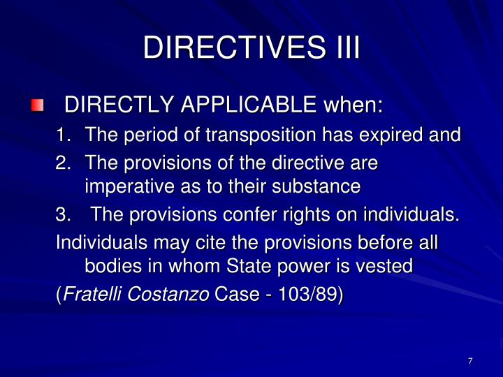 DIRECTIVES III