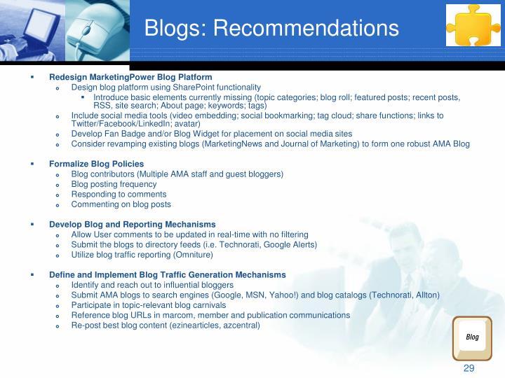 Blogs: Recommendations