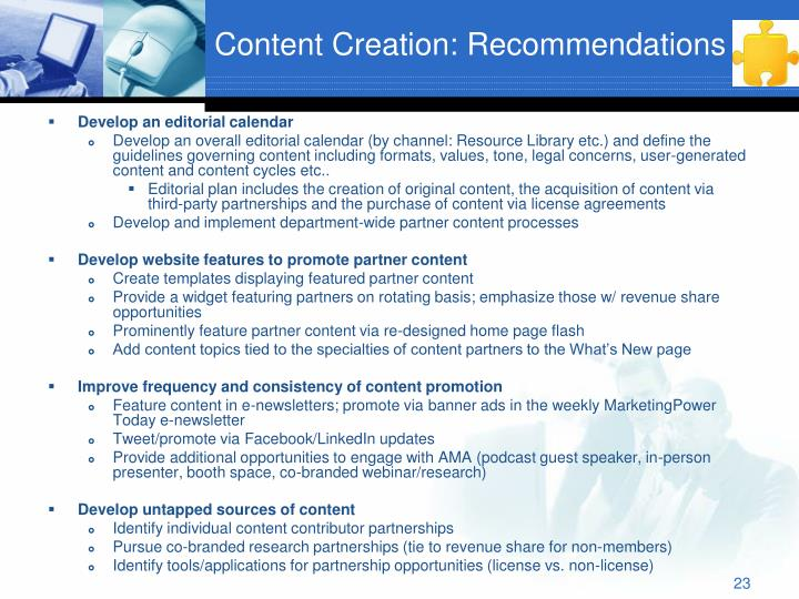 Content Creation: Recommendations