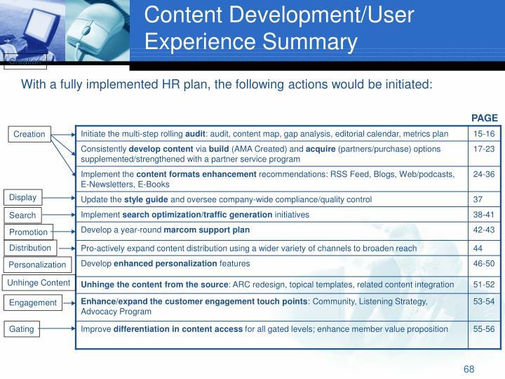 Content Development/User Experience Summary