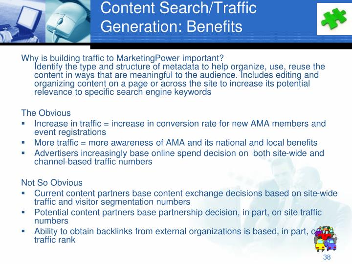 Content Search/Traffic Generation: Benefits