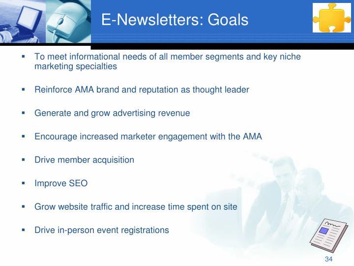 E-Newsletters: Goals
