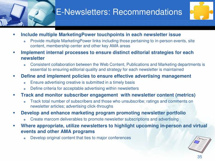 E-Newsletters: Recommendations