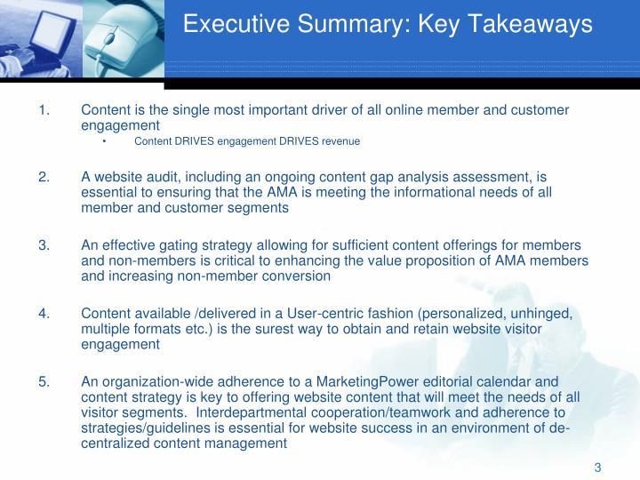 Executive summary key takeaways
