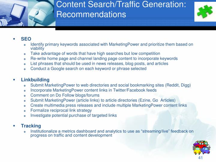 Content Search/Traffic Generation:
