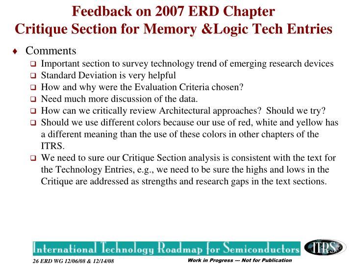 Feedback on 2007 ERD Chapter