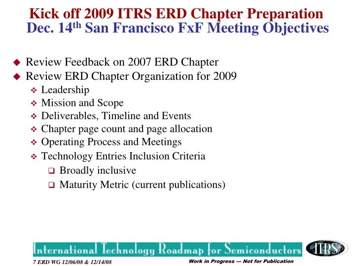 Review Feedback on 2007 ERD Chapter