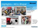 highlights mcu bhopal