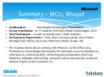 summary mcu bhopal