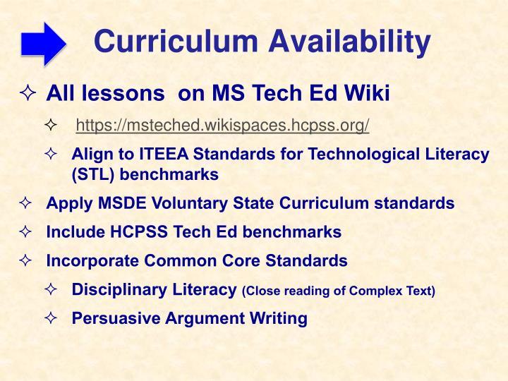 Curriculum Availability