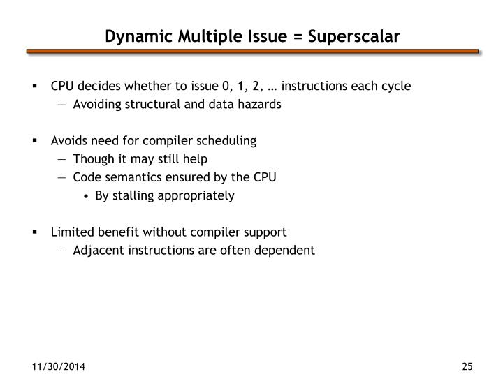 Dynamic Multiple Issue = Superscalar