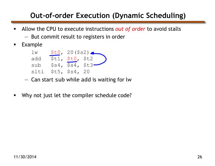Out-of-order Execution (Dynamic Scheduling)