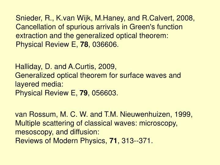 Snieder, R., K.van Wijk, M.Haney, and R.Calvert, 2008,