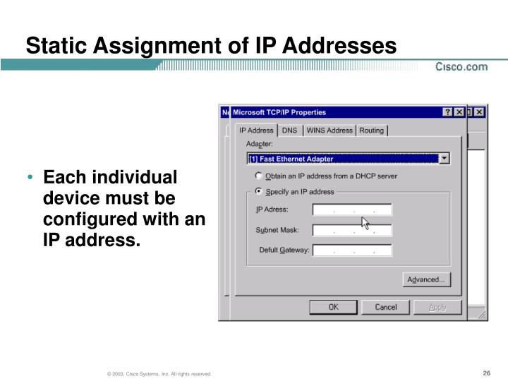Static Assignment of IP Addresses