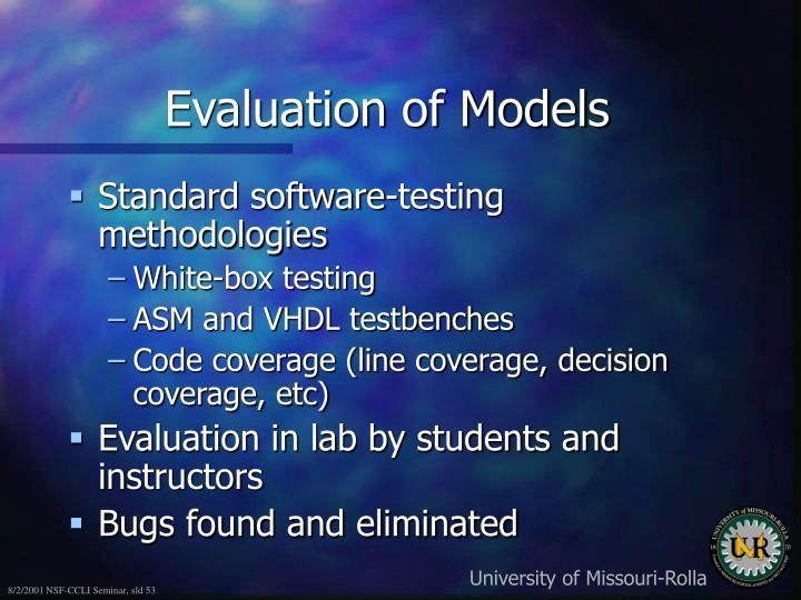 Evaluation of Models