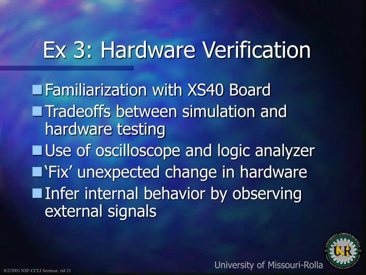 Ex 3: Hardware Verification