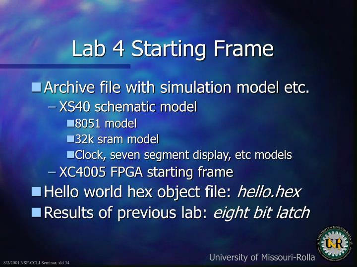 Lab 4 Starting Frame