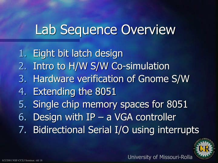 Lab Sequence Overview