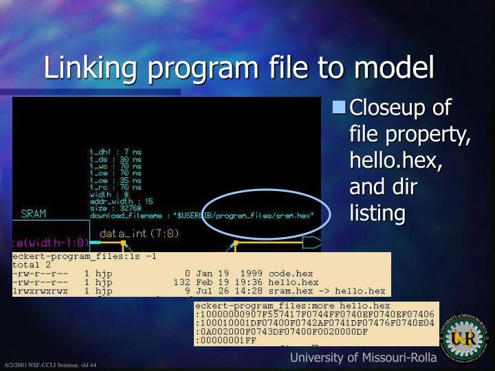 Linking program file to model