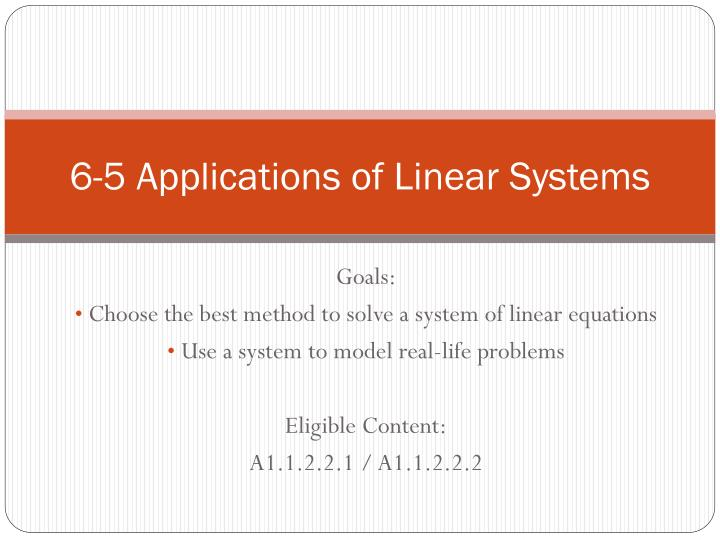 6 5 applications of linear systems n.