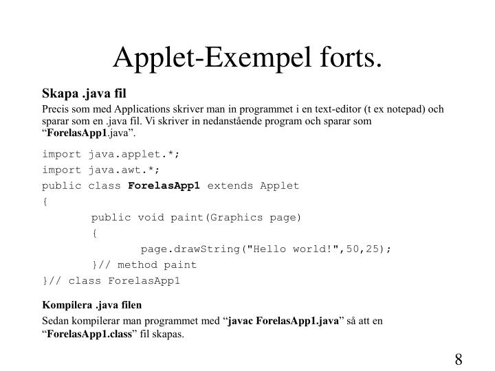 Applet-Exempel forts.