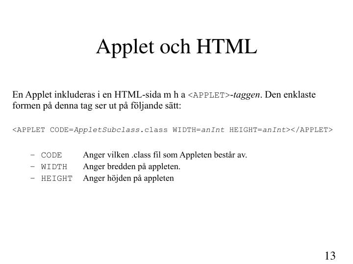 Applet och HTML