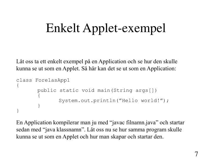 Enkelt Applet-exempel