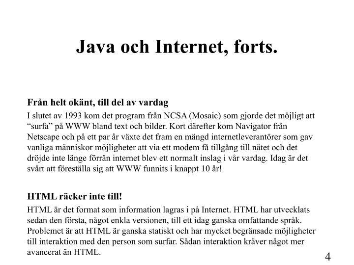 Java och Internet, forts.