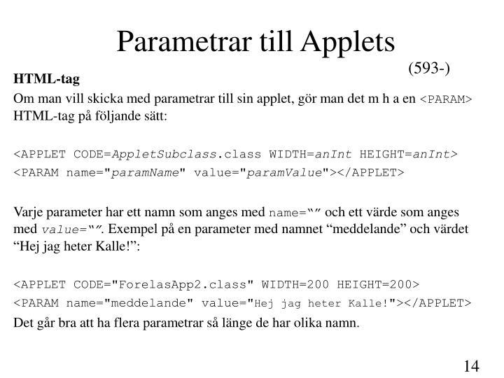 Parametrar till Applets