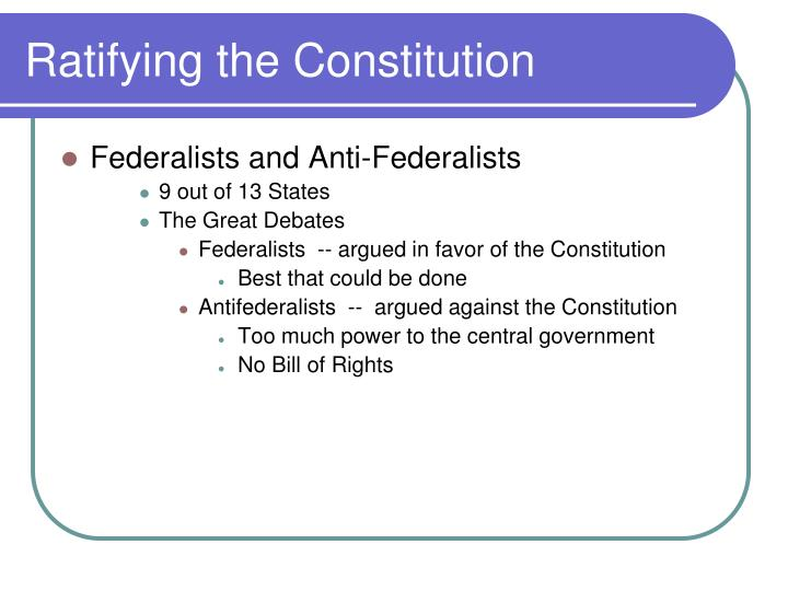 Ratifying the Constitution